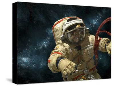 A Cosmonaut Against a Background of Stars-Stocktrek Images-Stretched Canvas Print