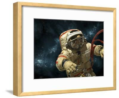 A Cosmonaut Against a Background of Stars-Stocktrek Images-Framed Photographic Print