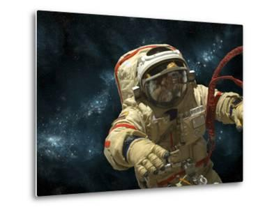 A Cosmonaut Against a Background of Stars-Stocktrek Images-Metal Print