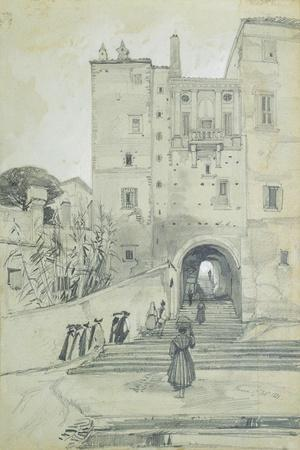 Stairs Leading to S. Pietro in Vincoli-Edward Lear-Stretched Canvas Print