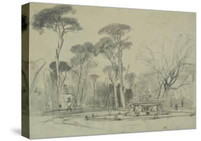 Fountain of the Sea-Horses in the Garden of the Villa Borghese, Rome-Edward Lear-Stretched Canvas Print