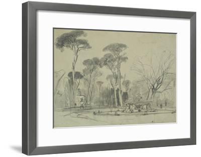 Fountain of the Sea-Horses in the Garden of the Villa Borghese, Rome-Edward Lear-Framed Giclee Print