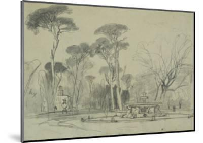 Fountain of the Sea-Horses in the Garden of the Villa Borghese, Rome-Edward Lear-Mounted Giclee Print