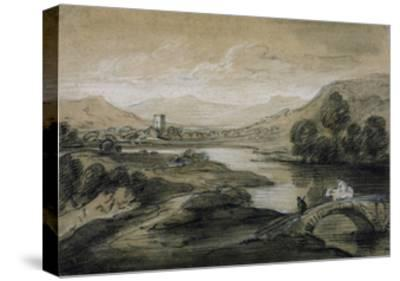 Upland Landscape with River and Horsemen Crossing a Bridge-Thomas Gainsborough-Stretched Canvas Print