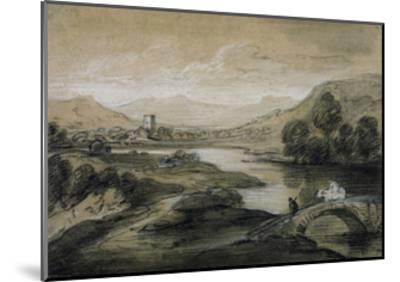 Upland Landscape with River and Horsemen Crossing a Bridge-Thomas Gainsborough-Mounted Giclee Print