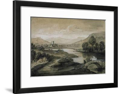 Upland Landscape with River and Horsemen Crossing a Bridge-Thomas Gainsborough-Framed Giclee Print