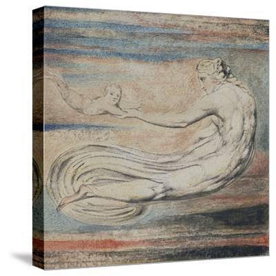 Urizen, Plate 2 of Urizen: Teach These Souls to Fly-William Blake-Stretched Canvas Print