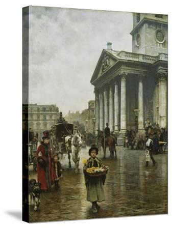 St Martin-In-The-Fields-William Logsdail-Stretched Canvas Print