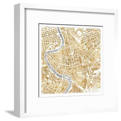 Gilded Rome Map-Laura Marshall-Framed Art Print