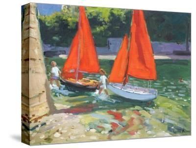 Girls with Sail Boats Looe, 2014-Andrew Macara-Stretched Canvas Print