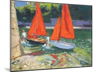 Girls with Sail Boats Looe, 2014-Andrew Macara-Mounted Premium Giclee Print