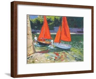 Girls with Sail Boats Looe, 2014-Andrew Macara-Framed Premium Giclee Print