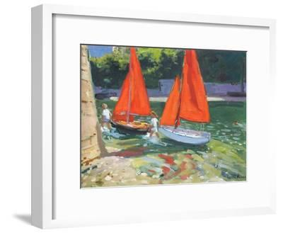 Girls with Sail Boats Looe, 2014-Andrew Macara-Framed Giclee Print