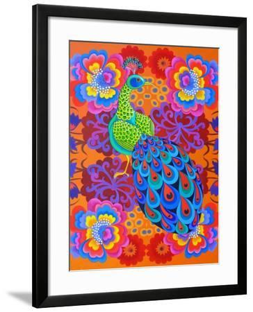Peacock with Flowers, 2015-Jane Tattersfield-Framed Giclee Print