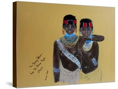 Two Young Girls from the Hamer People Ethiopia, 2015-Susan Adams-Stretched Canvas Print