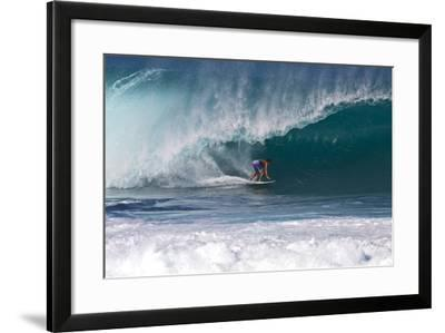 USA, Hawaii, Oahu, Surfers in Action at the Pipeline-Terry Eggers-Framed Photographic Print