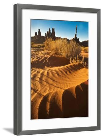 USA, Utah, Monument Valley. Totem Pole Formation and Sand Dunes-Jaynes Gallery-Framed Photographic Print