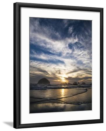 USA, Oregon, Bandon Beach. Face Rock and Sea Stacks at Twilight-Jaynes Gallery-Framed Photographic Print
