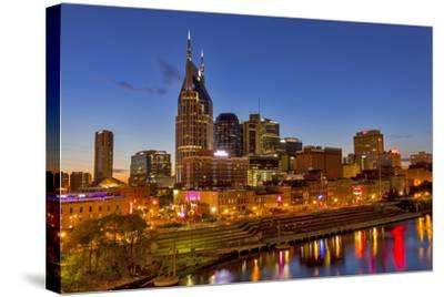 Skyline at Dusk over the Cumberland River in Nashville Tennessee-Chuck Haney-Stretched Canvas Print