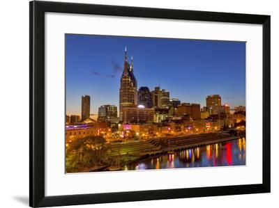 Skyline at Dusk over the Cumberland River in Nashville Tennessee-Chuck Haney-Framed Photographic Print