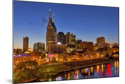 Skyline at Dusk over the Cumberland River in Nashville Tennessee-Chuck Haney-Mounted Photographic Print