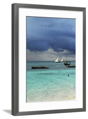 Tanzania, Zanzibar, Nungwi, Traditional Sailing Boat with Storm-Anthony Asael-Framed Photographic Print