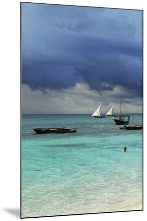 Tanzania, Zanzibar, Nungwi, Traditional Sailing Boat with Storm-Anthony Asael-Mounted Photographic Print
