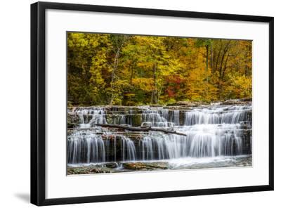 Upper Cataract Falls on Mill Creek in Autumn at Lieber Sra, Indiana-Chuck Haney-Framed Photographic Print