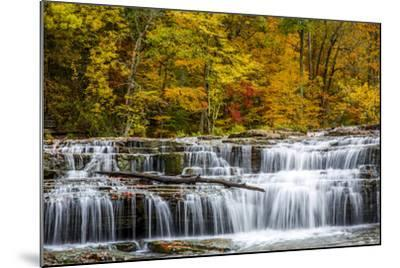 Upper Cataract Falls on Mill Creek in Autumn at Lieber Sra, Indiana-Chuck Haney-Mounted Photographic Print