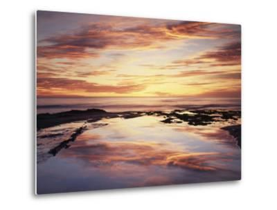 California, San Diego, Sunset Cliffs, Sunset Reflecting in a Tide Pool-Christopher Talbot Frank-Metal Print