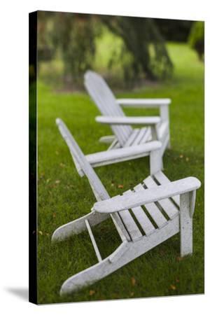 North Carolina, Outer Banks Seashore, Corolla, Adirondack Lawn Chairs-Walter Bibikow-Stretched Canvas Print