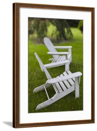 North Carolina, Outer Banks Seashore, Corolla, Adirondack Lawn Chairs-Walter Bibikow-Framed Photographic Print