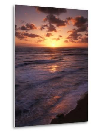 California, San Diego, Sunset Cliffs, Waves Crashing on a Beach-Christopher Talbot Frank-Metal Print