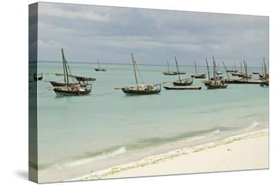 Tanzania, Zanzibar, Nungwi, Traditional Fisherman Boat on White Beach-Anthony Asael-Stretched Canvas Print