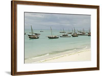 Tanzania, Zanzibar, Nungwi, Traditional Fisherman Boat on White Beach-Anthony Asael-Framed Photographic Print