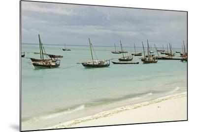 Tanzania, Zanzibar, Nungwi, Traditional Fisherman Boat on White Beach-Anthony Asael-Mounted Photographic Print