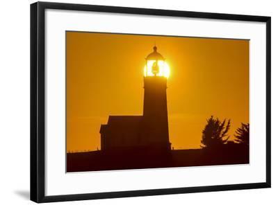 Setting Sun Behind Oregons Oldest Lighthouse at Cape Blanco Sp, Oregon-Chuck Haney-Framed Photographic Print
