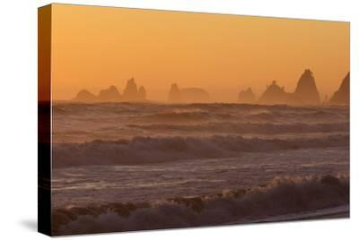 Wa, Olympic National Park, Sea Stacks at Sunset, Rialto Beach-Jamie And Judy Wild-Stretched Canvas Print