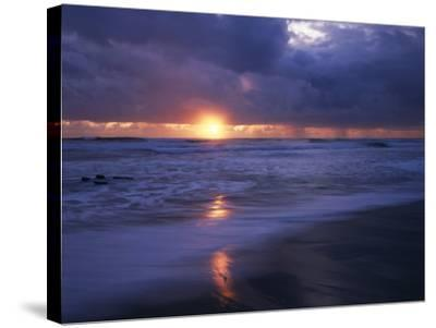 California, San Diego, Sunset Cliffs, Sunset over a Beach and Waves-Christopher Talbot Frank-Stretched Canvas Print