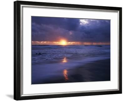 California, San Diego, Sunset Cliffs, Sunset over a Beach and Waves-Christopher Talbot Frank-Framed Photographic Print