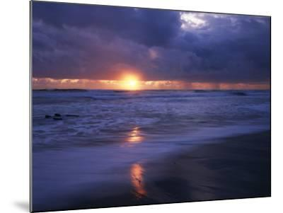 California, San Diego, Sunset Cliffs, Sunset over a Beach and Waves-Christopher Talbot Frank-Mounted Photographic Print