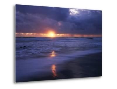 California, San Diego, Sunset Cliffs, Sunset over a Beach and Waves-Christopher Talbot Frank-Metal Print