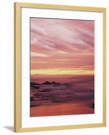 California, San Diego, Sunset Cliffs, Sunset over the Ocean with Waves-Christopher Talbot Frank-Framed Photographic Print
