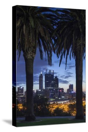 Australia, Perth, City Skyline from Kings Park, Dawn-Walter Bibikow-Stretched Canvas Print