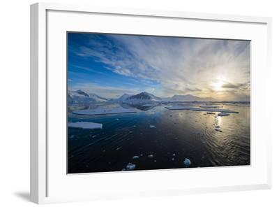 Antarctica. Near Adelaide Island. the Gullet. Ice Floes at Sunset-Inger Hogstrom-Framed Photographic Print