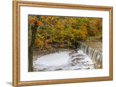 Anderson Falls on Fall Fork of Clifty Creek in Autumn, Indiana-Chuck Haney-Framed Photographic Print