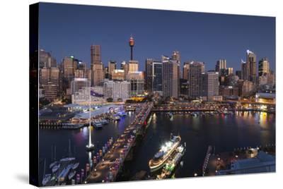 Australia, Sydney, Darling Harbor, and Pyrmont Bridge, Elevated View-Walter Bibikow-Stretched Canvas Print