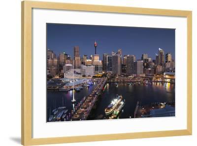 Australia, Sydney, Darling Harbor, and Pyrmont Bridge, Elevated View-Walter Bibikow-Framed Photographic Print