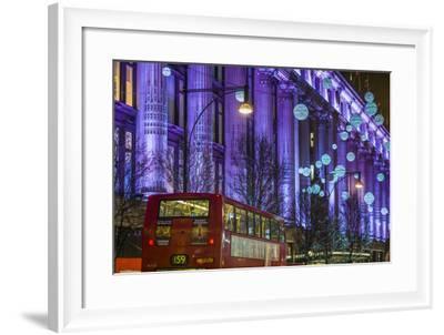 England, London, Soho, Oxford Street, Christmas Decorations and Bus-Walter Bibikow-Framed Photographic Print