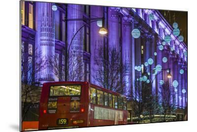 England, London, Soho, Oxford Street, Christmas Decorations and Bus-Walter Bibikow-Mounted Photographic Print